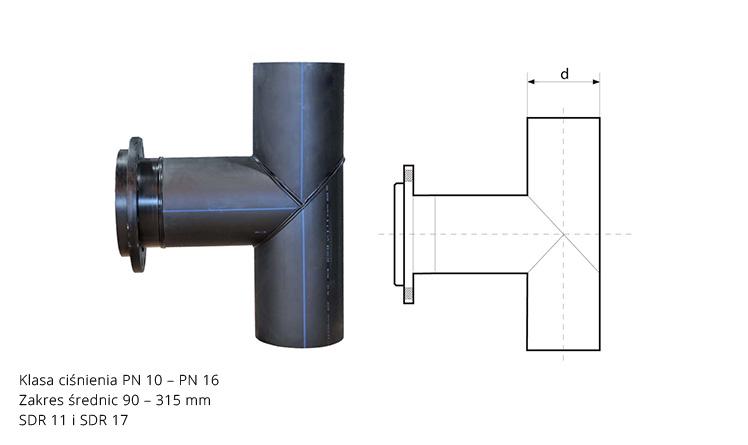 Trójnik kołnierzowy 90° z PE ciśnieniowy